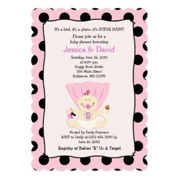 Super Baby Girl Baby Shower Invitation Scalloped