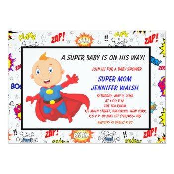 Super Hero Baby Shower Invitations | Comic Book