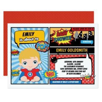 Superhero Baby Boy Shower / Comic Book Blond Hair Invitation