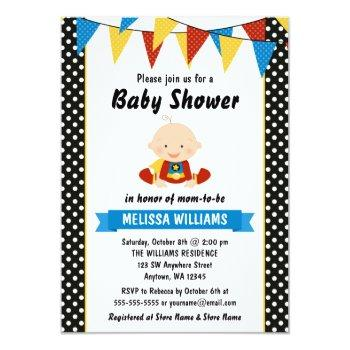 Superhero Polka Dot Bunting Baby Shower Invitation
