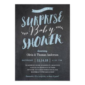 Surprise Baby Shower Invitations - Chalkboard Blue