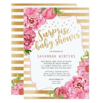 Surprise Baby Shower     Pink Gold Peonies Invitation