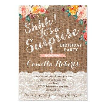 Surprise Birthday Party Invites, Any Age, Autumn Invitation