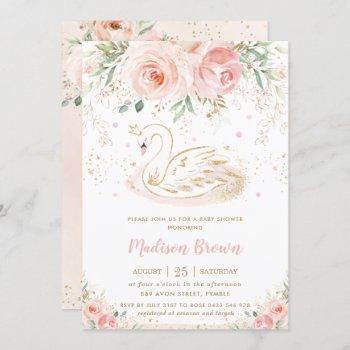 Swan Blush Pink Floral Gold Girl Baby Shower