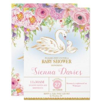 Swan Floral Baby Shower Invitation Girl