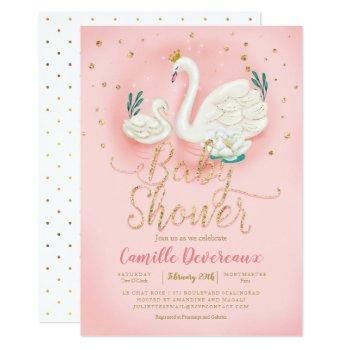 Swan Pond Gold Glitter Pink Baby Shower Invitation