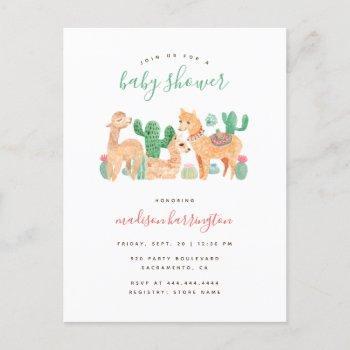 Sweet Alpaca Llama Cactus Boho Baby Shower Invitation Postcard