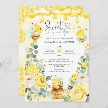 Sweet As Can Bee Baby Shower Yellow Roses Sprinkle Invitation
