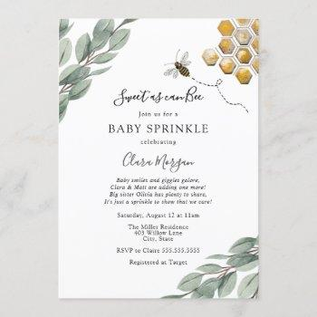 Sweet As Can Bee Eucalyptus Baby Sprinkle Invitation
