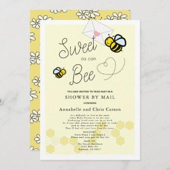 Sweet As Can Bee Light Yellow Baby Shower By Mail Invitation