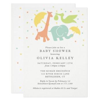 Sweet Baby Animal Baby Shower,  Neutral Invitation