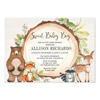 Sweet Baby Boy Forest Friends Woodland Baby Shower Invitation