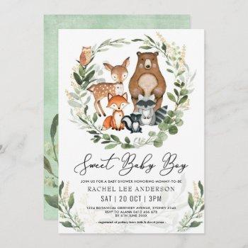 Sweet Baby Boy Woodland Greenery Animals Shower Invitation