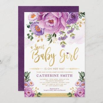 Sweet Baby Girl Purple Gold Peonies Baby Shower