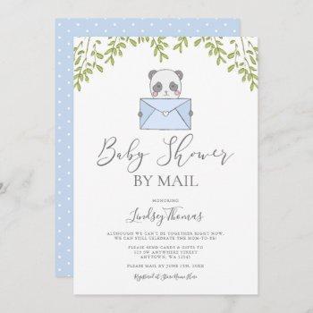Sweet Blue Panda Boy Baby Shower By Mail Invitation
