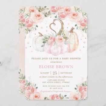 Sweet Blush Pink Floral Pumpkins Baby Shower