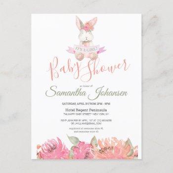 Sweet Boho Bunny Pretty Pink Floral Baby Shower Invitation Postcard