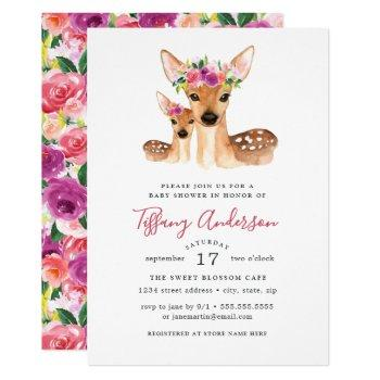 Sweet Deer Mom And Baby Floral Baby Shower Invitation