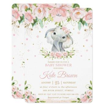 Sweet Elephant Blush Pink Floral Gold Baby Shower Invitation