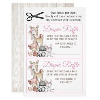 Sweet Forest Woodland Girls Diaper Raffle Invitation