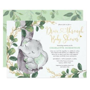 Sweet Greenery Gold Elephant Drive By Baby Shower Invitation