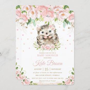 Sweet Hedgehog Blush Pink Floral Gold Baby Shower