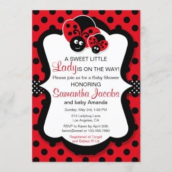 Sweet Ladybug Girl Baby Shower Invitation