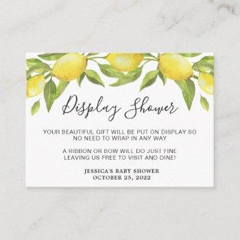 Sweet Lemons & Greenery Display Shower Card