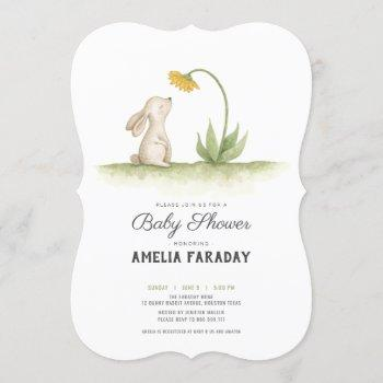 Sweet Little Bunny Rabbit Baby Shower Invitation