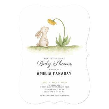 Sweet Little Bunny Rabbit Baby Shower Invitation