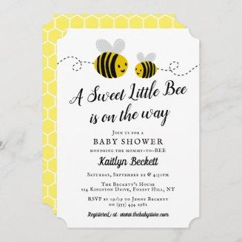 Sweet Little Honey Bee Baby Shower Invitation
