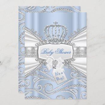 Sweet Little Prince Diamond Boy Baby Shower Invitation