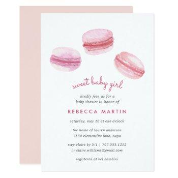 Sweet Love | Pink Macarons Baby Shower Invitation