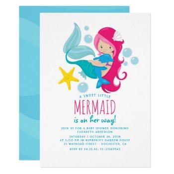 Sweet Mermaid Baby Shower Invitation