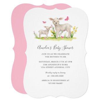 Sweet Mom Baby Sheep Baby Shower Invitation