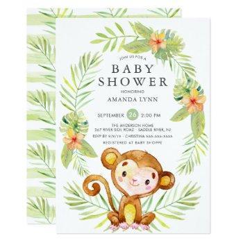 Sweet Monkey Boy Baby Shower Invitation