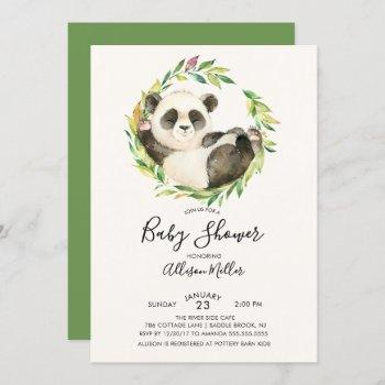 Sweet Panda Bear Baby Shower Invitation