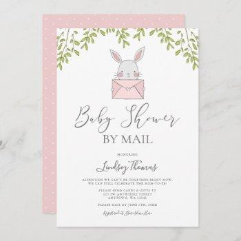 Sweet Pink Bunny Girl Baby Shower By Mail Invitation
