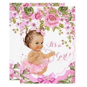 Sweet Pink Floral Baby Shower Girl Brunette Tutu Invitation