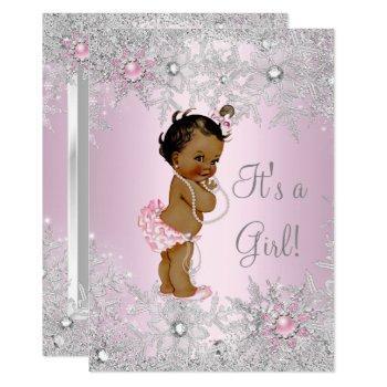 Sweet Pink Girl Girl Baby Shower Snowflake Ethnic Invitation