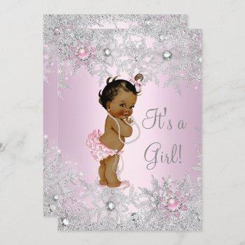 Sweet Pink Girl Girl Baby Shower Snowflake Ethnic Invitation