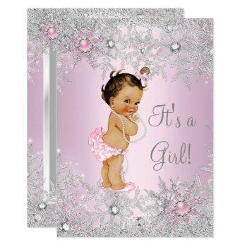 Sweet Pink Girl Girl Baby Shower Snowflake Winter Invitation