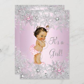 Sweet Pink Girl Girl Baby Shower Snowflake Winter Invitation