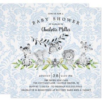 Sweet Safari Animals Boys Baby Shower Invitation