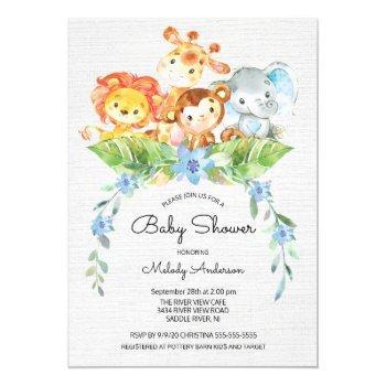 Sweet Safari Jungle Boys Baby Shower Invitation