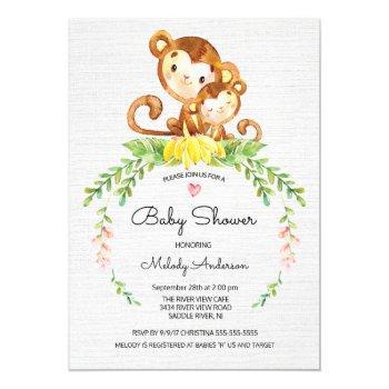 Sweet Safari Jungle Monkey Baby Shower Invitation