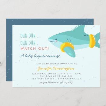 Sweet Shark Summer Ocean Themed Boy Baby Shower Invitation
