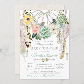 Sweet Succulents Dream Catcher Boho Baby Shower Invitation