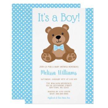 Sweet Teddy Bear Blue Polka Dot Baby Shower Invitation