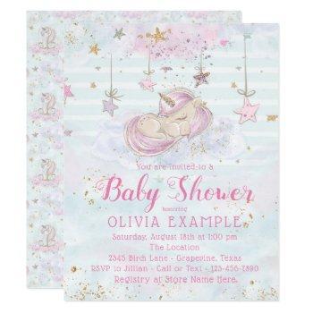 Sweet Unicorn Baby Shower Invitations